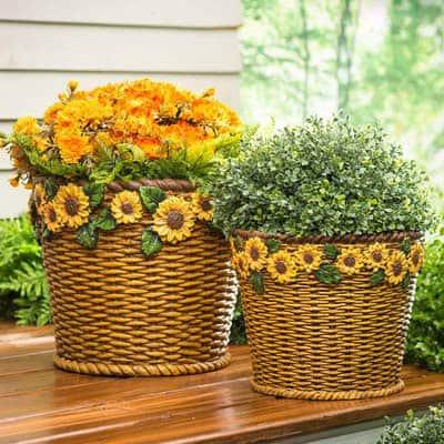 Sunflower Basket Planters